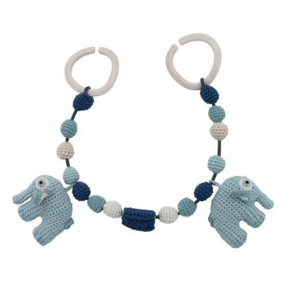 Crochet baby pram chain - blå
